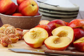 Halved nectarines — Stock Photo