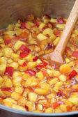 Making nectarine jam — Stock Photo