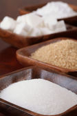 Sugar in wooden bowls — Foto de Stock