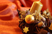 Advent wreath with gold candles — Stock Photo