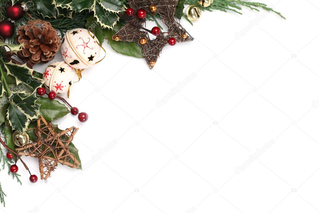Jingle bell and star Christmas frame — Stock Photo © ingridhs #7743182