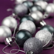 Silver Christmas ornaments — Stock Photo