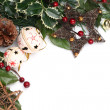 Stock Photo: Jingle bell and star Christmas frame