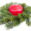Christmas decoration with candle, isolated on white — Stock Photo #7490163