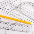 Building plan of wooden beams in a house — Stock Photo