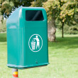 Green waste bin in the park — Stock Photo