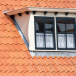 Stock Photo: Typical Dutch roof with dormer and squared windows