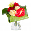 Beautiful bouquet in a vase, isolated on white — Stock Photo