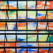 Many colored windows inside a modern building — Stock Photo #7490390