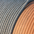Detail of a big winch winding a steel cable — Stock Photo