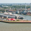 Stock Photo: Aerial view of Dutch harbor Rotterdam with a big passenger ship