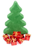 Christmas tree with gifts, isolated on white — Stockfoto