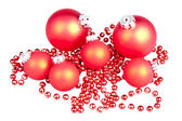 Red Christmas balls with a sting of small red balls — Stock Photo