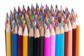 144 colored pencils isolated on white — Stock Photo