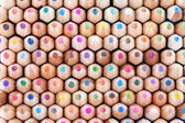 Front view of many colored wooden pencils — Stock Photo