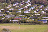 Aerial view of a bungalow park at Ameland, the Netherlands — Stock Photo