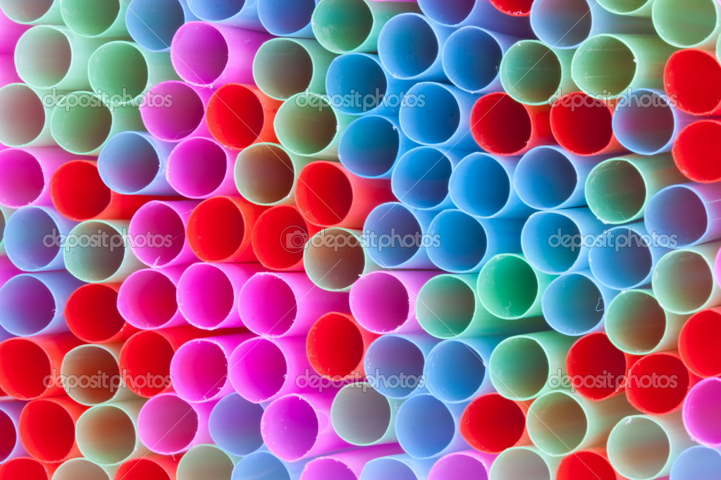 Closeup of group colorful straws  Stock Photo #7490289