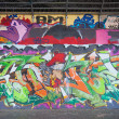 Stock Photo: Graffity art at a gangway under a viaduct
