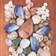 Beautiful decoration of colorful stones and shells — Stock Photo