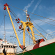 Profile of a big Dutch iron fishing cutter - Stock Photo