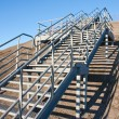 Stairway of stainless steel to the blue sky - Stock Photo