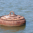 Rusty buoy for the mooring of ships — Foto Stock