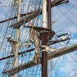 Masts with rigging of two sailing vessels - Stock Photo