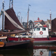 Stock Photo: Dutch harbor of Urk with traditional ships