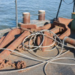 Floating workshop with steel cables and anchors — Stockfoto #7519081