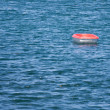 Stock Photo: Lonely rowboat in wide sea