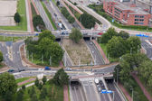 Aerial view of a rotary intersection in Rotterdam, the Netherlan — Stock Photo