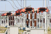 High power electricity system with several transformers — Stock Photo