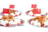 Slices of decorated apple pie with cream for a kids birthday par — Stock Photo