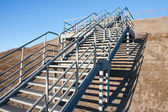 Stairway of stainless steel to the blue sky — Stock Photo
