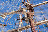Rigging of historic sailing boats — Stock Photo