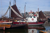 Dutch harbor of Urk with traditional ships — Stock Photo