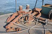 Floating workshop with steel cables and anchors — Stock Photo
