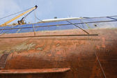 Keel of fishing cutter at a shipyard for maintenance — Foto Stock