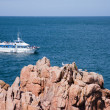 Stock Photo: Round-trip boat sailing along beautiful coast of Bretagne, F