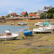 Ships by ebb-tide in harbor of Ploumanach, Brittany, France — Stock fotografie