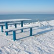 Stock Photo: Cold picnic table in wintertime