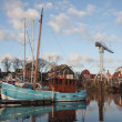 Stock Photo: Fishing cutter near shipyard in harbor of Urk, Nethe