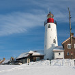 Dutch lighthouse of fishery village Urk in wintertime — Stock Photo