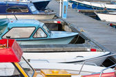 Small motorboats in a Dutch harbor — Stock Photo