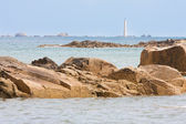 Coast of Brittany with lighthouse in France — Stock Photo