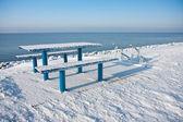 Kall picknickbord vintertid — Stockfoto