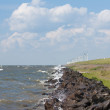 Stock Photo: Dike with windmills in Netherlands