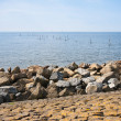 Breakwater of rocks at Dutch coast — Stock Photo #7561048