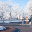 Residential area with traffic circle in wintertime — Foto Stock