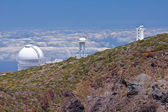 Big telescopes above the clouds at the highest peak of La Palma — Stock Photo